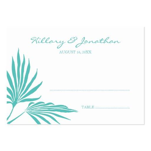 Tarjeta de hoja de palma del lugar del nombre del tarjetas de visita grandes