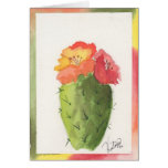 Tarjeta de imagen del color de agua del cactus de