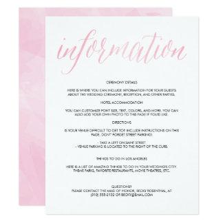 """Tarjeta de información bonita del boda de la invitación 4.25"""" x 5.5"""""""