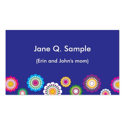 Tarjeta de información de la mamá en azul tarjetas de visita