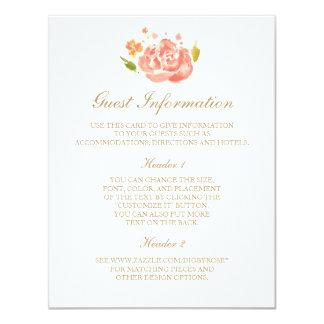 """Tarjeta de información de los rosas de la acuarela invitación 4.25"""" x 5.5"""""""