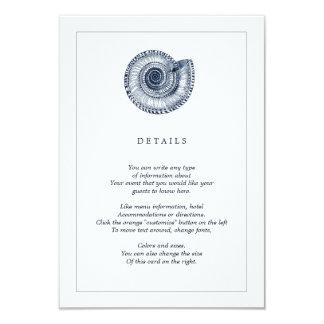 Tarjeta de información del boda de playa de Shell Invitación 8,9 X 12,7 Cm