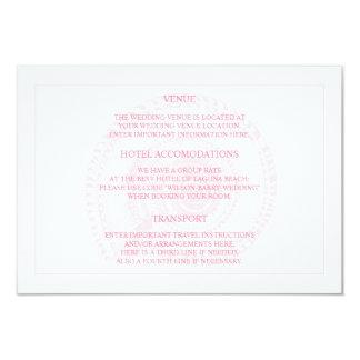 """Tarjeta de información del boda de playa de Shell Invitación 3.5"""" X 5"""""""