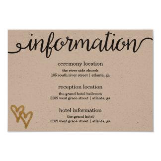 """Tarjeta de información del papel de Kraft de los Invitación 3.5"""" X 5"""""""