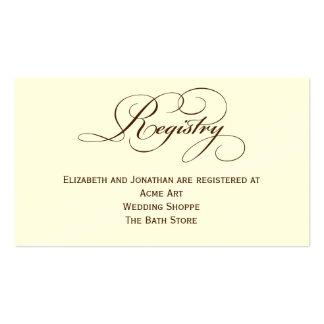 Tarjeta de información del registro del boda de la tarjetas de visita