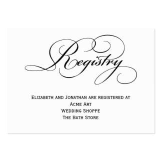 Tarjeta de información del registro del boda de la tarjetas de visita grandes