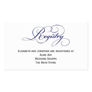 Tarjeta de información del registro del boda del tarjetas de visita