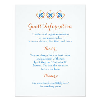 Tarjeta de información española de la teja de invitación 10,8 x 13,9 cm