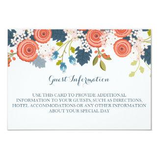 Tarjeta de información floral de la huésped del invitación 8,9 x 12,7 cm