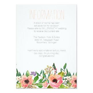 """Tarjeta de información floral del boda de la invitación 4.5"""" x 6.25"""""""