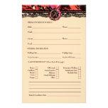 Tarjeta de información nupcial del lirio salvaje 3 tarjeta publicitaria