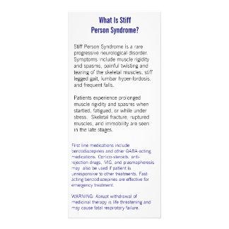 Tarjeta de información tiesa del síndrome de la pe lona publicitaria