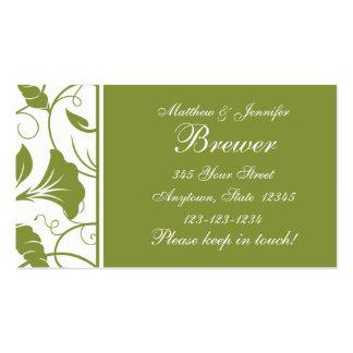 Tarjeta de información verde de contacto de novia tarjetas de visita