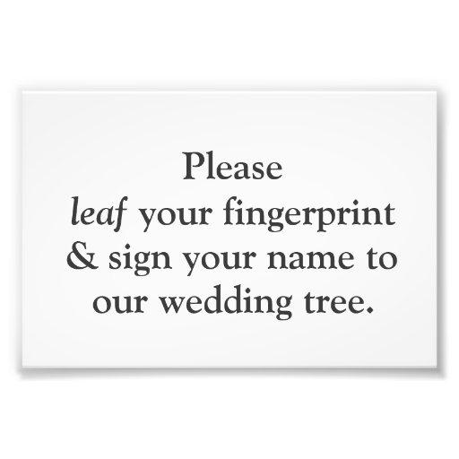 Tarjeta de instrucciones del árbol de la huella da impresión fotográfica