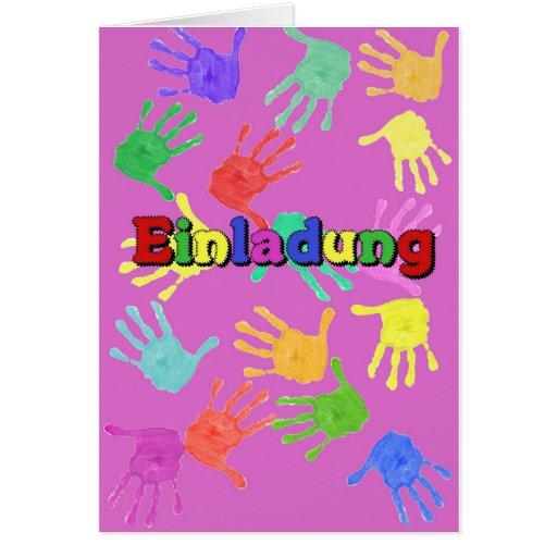 Tarjeta de invitación para niños mano rosa