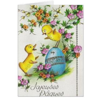 Tarjeta de Joyeuses Pâques pascua del francés del
