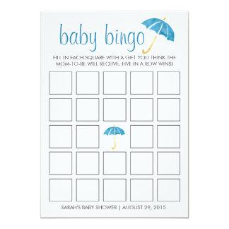 """Tarjeta de juego azul del bingo de la fiesta de invitación 5"""" x 7"""""""