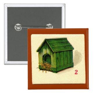 Tarjeta de juego de la casa de perro del vintage pins