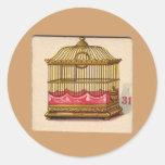 Tarjeta de juego del Birdcage del vintage Etiqueta Redonda