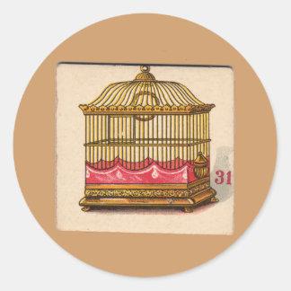 Tarjeta de juego del Birdcage del vintage Pegatina Redonda