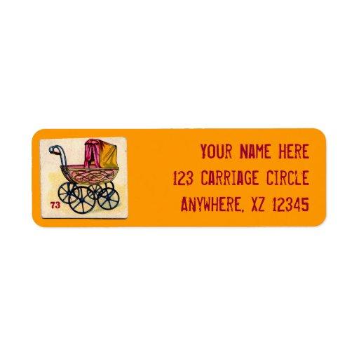 Tarjeta de juego del cochecillo de bebé del etiquetas de remite