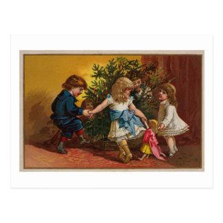 Tarjeta de juegos colorida del navidad del vintage postal