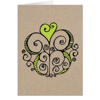 Tarjeta de Kraft del verde del adorno del corazón