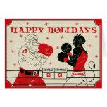 Tarjeta de Krampus del navidad - lucha