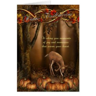 Tarjeta de la acción de gracias con los ciervos y