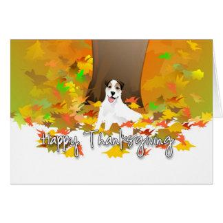 Tarjeta de la acción de gracias - hojas de otoño