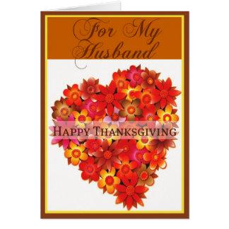 Tarjeta de la acción de gracias para el marido