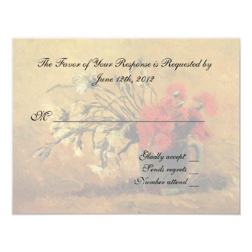 """tarjeta de la aceptación del boda, flores de Van Invitación 4.25"""" X 5.5"""""""