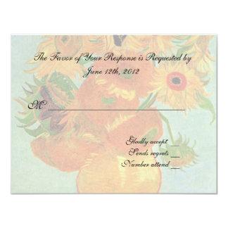 """tarjeta de la aceptación del boda, girasoles de invitación 4.25"""" x 5.5"""""""