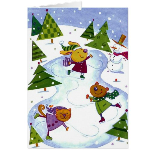 Tarjeta de la acuarela de la escena del navidad