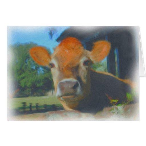 Tarjeta de la acuarela de la vaca