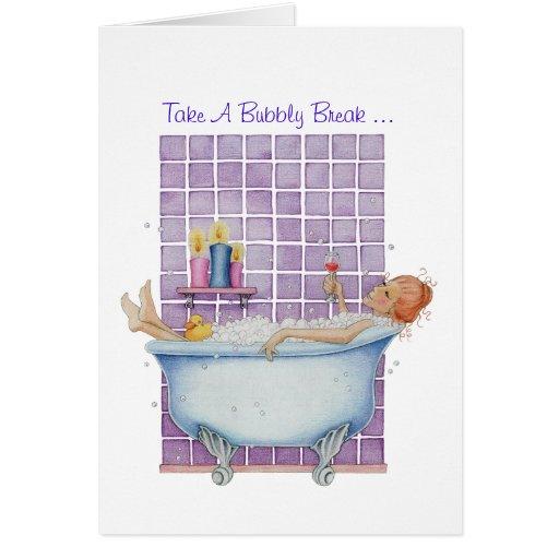 Tarjeta de la alegría de la bañera