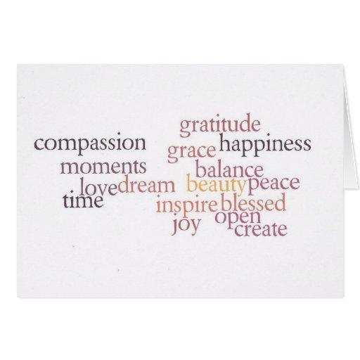 Tarjeta de la alegría y de la gratitud