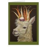 Tarjeta de la alpaca del jardín