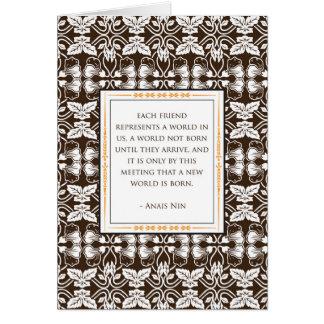 Tarjeta de la amistad de Anais Nin