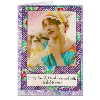 Tarjeta de la amistad de la cita de Isabel Norton