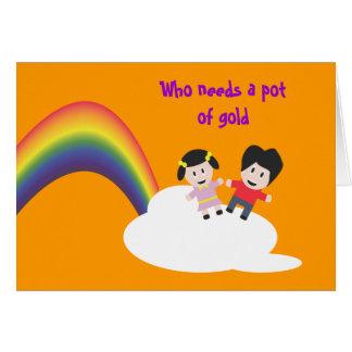 Tarjeta de la amistad del arco iris y de las nubes