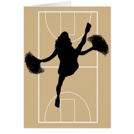 Tarjeta de la animadora del baloncesto del día de
