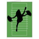 Tarjeta de la animadora del fútbol del día de padr