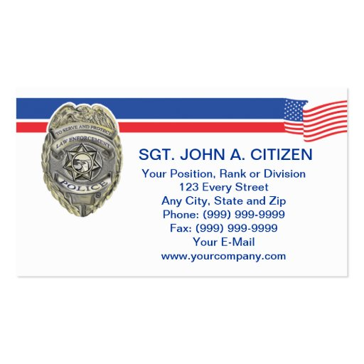 tarjeta de la aplicación de ley del ayudante del tarjetas personales