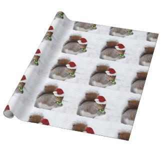 Tarjeta de la ardilla del navidad papel de regalo