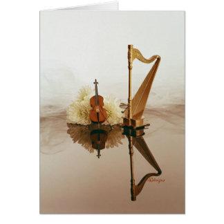Tarjeta de la arpa y del violoncelo