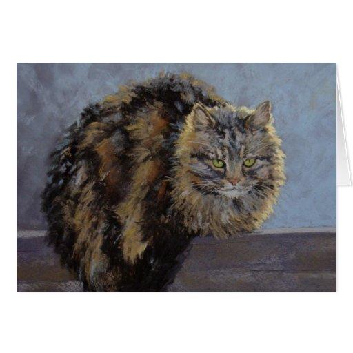 Tarjeta de la bella arte del gato del granero