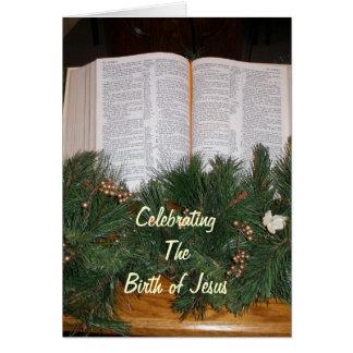 Tarjeta de la biblia del navidad