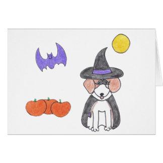 Tarjeta de la bruja del beagle