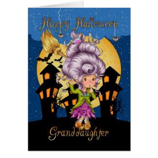 tarjeta de la bruja del dibujo animado de Hallowee